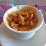 Buffalo wing soup from the soup and salad bar