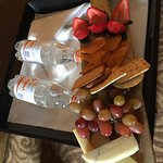 Beautiful fruit and cheese platter sent to our room.