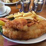 My fantastic fish and chips- and check out the menu.