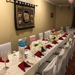 Party room decorated for baby shower party and wedding reception party