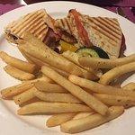 Veggie panini and fries