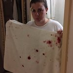 """My """"exaggeration"""" of the net collapsing on my face... apparently house keeping missed this"""