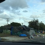 homeless encampment stretched for several blocks north of hotel