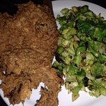 Fried Chicken with Brussels Sprouts ($15) at Speakeasy in Petaluma.