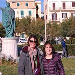 My guide Silvia and me at the statue of Nero in Antium