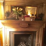 Fireplace with champagne and flowers---a very special extra touch!