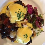 oeuf Bourguignon Eggs Benedict, this dish was wonderful, as were all the dishes.