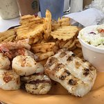 seafood platter with grilled grouper, scallops, and shrimp!