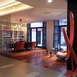 Lobby, hotel reataurant, outside garden