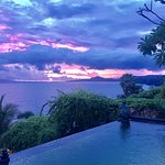 Sunset from our villa with private pool