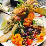 Seafood platter with edible blooms & microherbs from our friends @febfarm