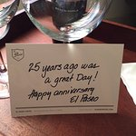 A lovely gesture from the hotel when we arrived, a bottle of wine and a cake, for our anniversar