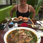 The Bun Bo Hue with the Pulled Pork burgers in the background 😍