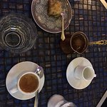 Espresso and Turkish coffee with baklava