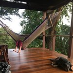 enjoying the hammock on our cottage porch