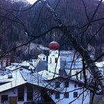 View of St Anton church from one of walks above the village.
