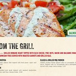 From the Grill: Try our delicious Grilled Salmon Rustica, Pub Steak or our Glazed BBQ Chicken!