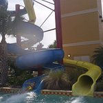 racing down the water slide!
