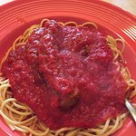 Spaghetti with best homemade meatballs I've ever had