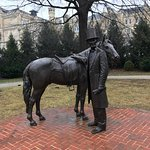 Statue of President Lincoln with his horse.
