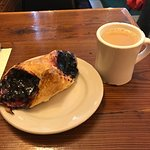 Blueberry pastry and french coffee