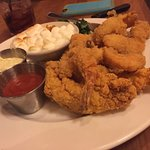 Chicken tenders and shrimp with sweet potato casserole