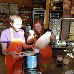 Preparing dumplings for chicken paprikash meal