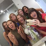 Bridesmaids in the roomy bathroom. If 6 girls can get ready in there, your know it's good!