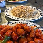 Sweet and Sour Chicken, ham fried rice and Kung Pao Chicken