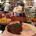 5 yr dry aged steak & kitchen area