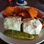 Chicken Cesar Wrap with Sweet Potato Waffle Fries!