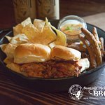 Iron Skillet.  This version features pulled pork sliders, burnt end queso dip and fried green be