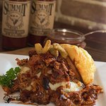 BBQ Shepherds Pie, Corn muffins, mashed potatoes, pulled pork, shp bbq sauce and jalapeno onions