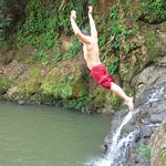 Jumping off the waterfall