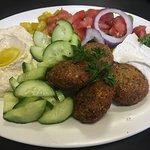 Falafel platter with cucumbers instead of pita & hummus instead of tabouli.