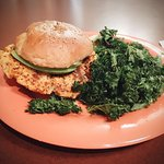 SWEET POTATO BURGER WITH KALE CHIPS NOM NOM NOM