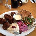 Falafel plate, hummus and beet sauce.