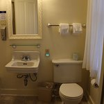 Bathroom. The first room I stayed in had a clawfoot tub and old corner sink. This was more basic