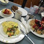 Delicious veggie omelette and blueberry pancakes..