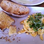 Scrambled eggs and toast with cress