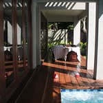 Bi-fold doors open the lounge to the pool but we didnt with young children