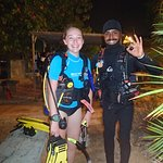 Night Diving right off the dock in front of Carib Inn