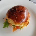 salmon in a brioche roll