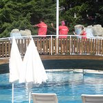 Entertainment team dancing for the poolside bathers
