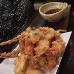 gamberi e granchio in tempura