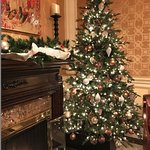Main lobby Christmas Tree and fireplace