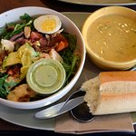 Chicken salad and brocelli cheddar soup