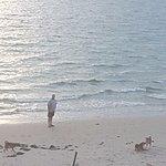 My hubby go for a walk on beach