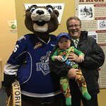 Mascot Marty the Marmot and me with my grandson at the Royals Hockey game