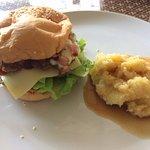 Burger with mashed potato